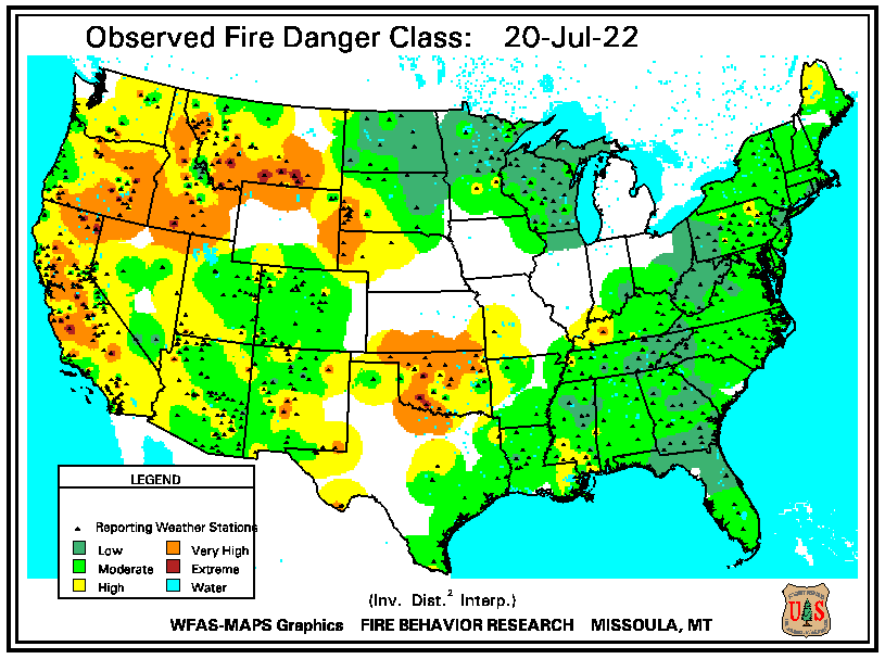 current fire danger map CONUS