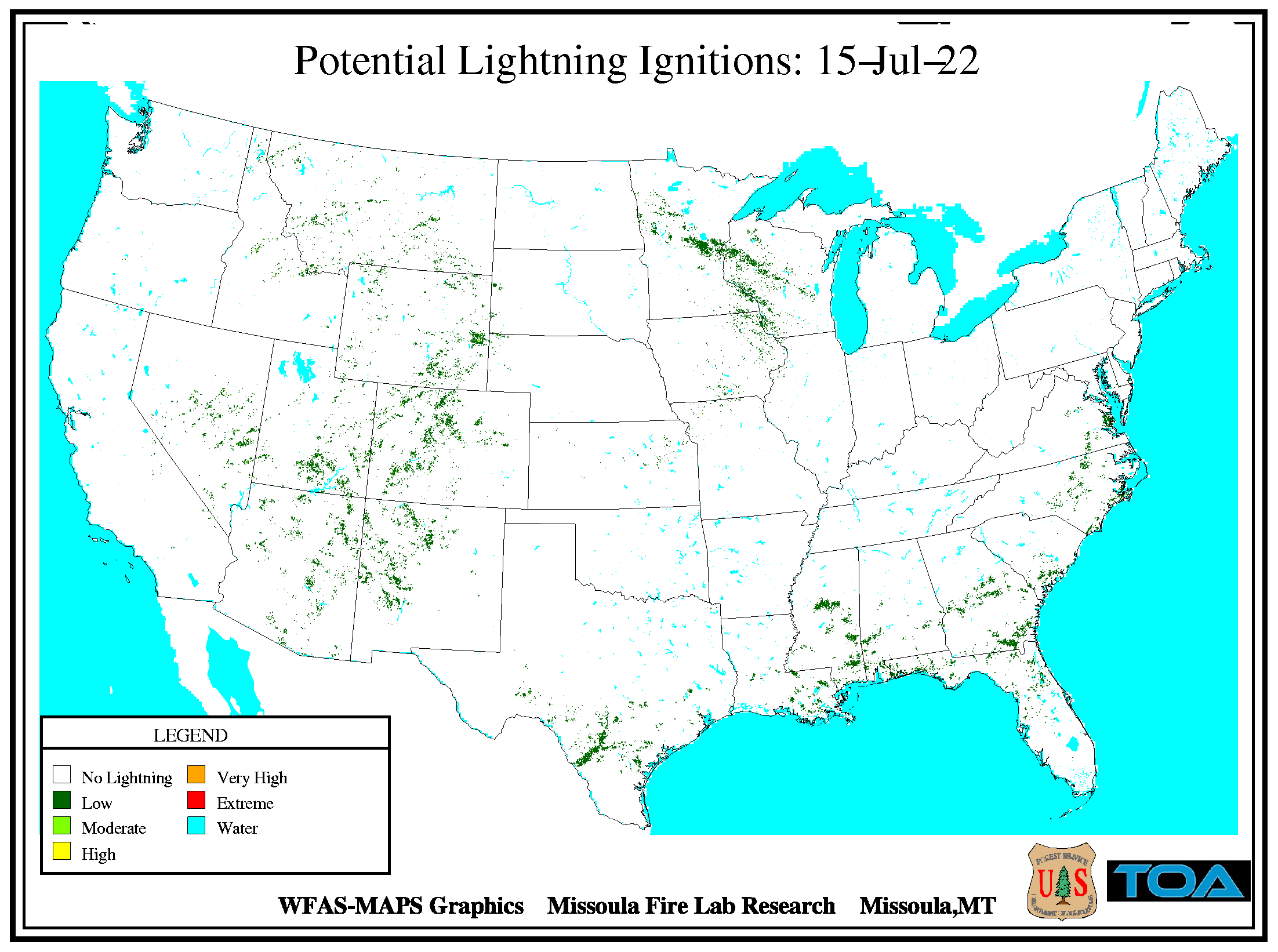 Potential Lightning Ignition Map
