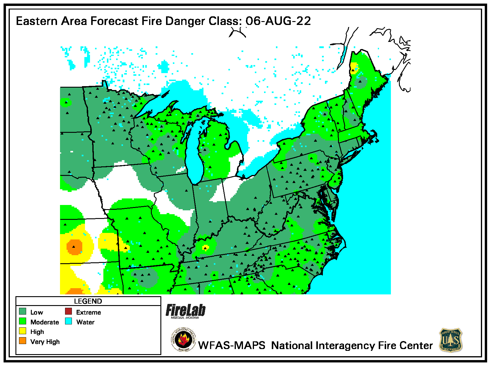 forecast fire danger map NE