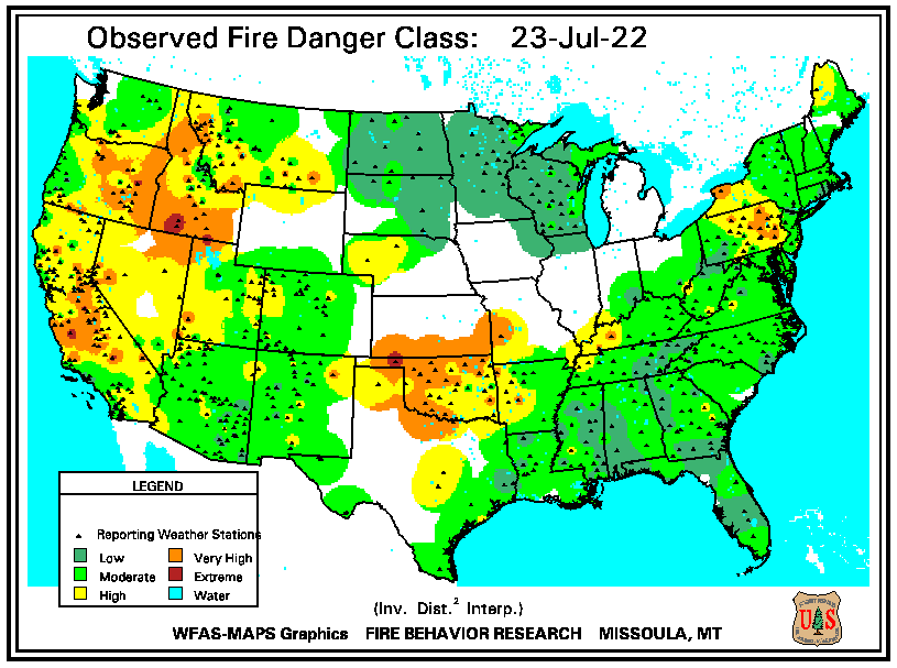 Observed Fire Danger Class map of the United States