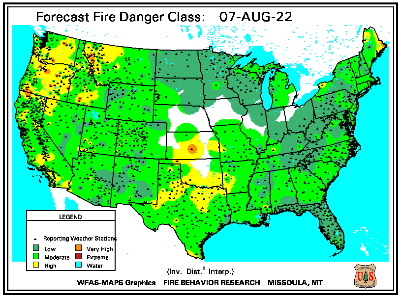 forecast fire danger map CONUS
