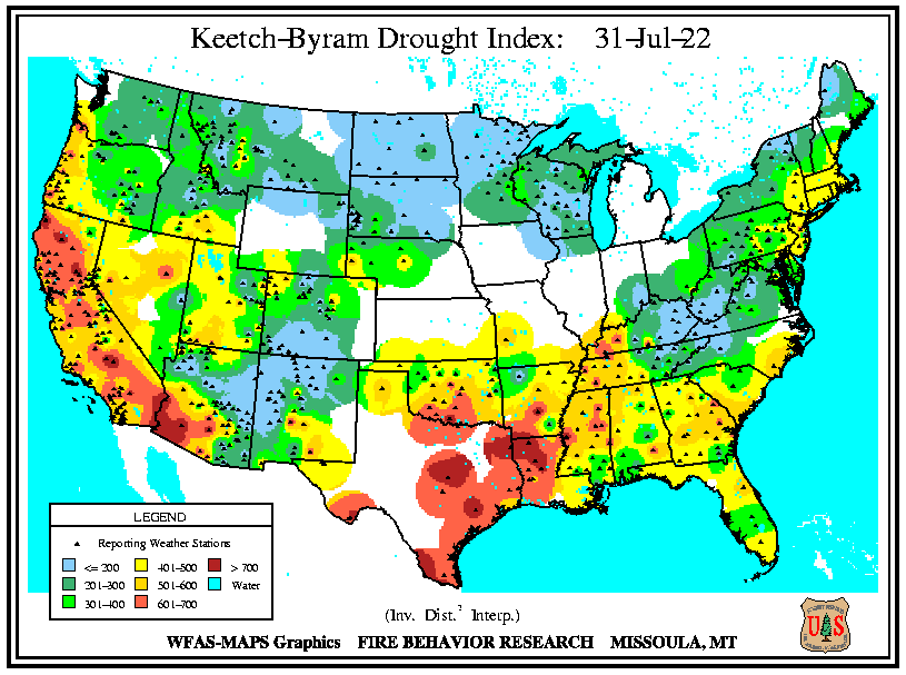 Keetch-Byram Drought Index map