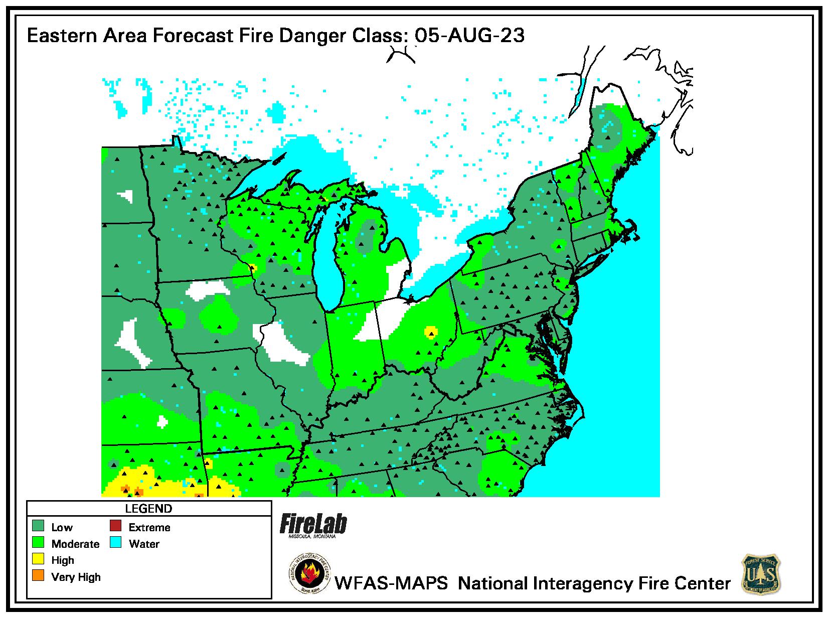 forecast fire danger map NE